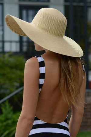 yoyoyoyoga.com Yoga Accessories Beige / One Size Fold-Able Wide Brim Straw Hat