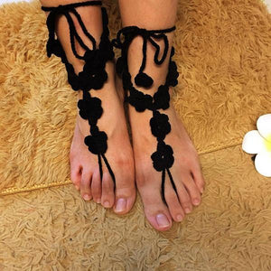 yoyoyoyoga.com Yoga Accessories Black / One Size Hand-Crochet Flower Anklet