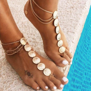 yoyoyoyoga.com Yoga Accessories Gold / One Size Bohemian Carved Multi-Layer Tassel Anklet