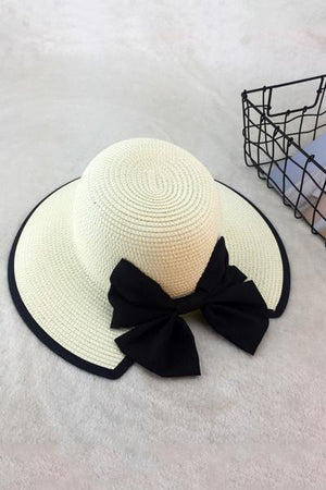 yoyoyoyoga.com Yoga Accessories Milky-White / One Size Chic Bow-Knot Straw Hat