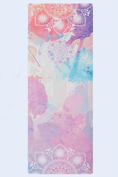 yoyoyoyoga.com Yoga Accessories One Size / Pink Floral Chic Printed Suede Folding Yoga Mat
