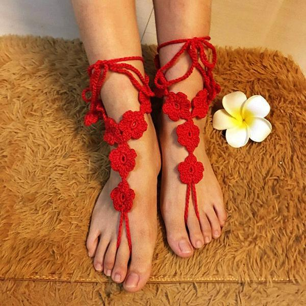 yoyoyoyoga.com Yoga Accessories Red / One Size Hand-Crochet Flower Anklet