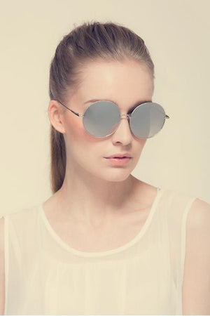 yoyoyoyoga.com Yoga Accessories Rose Gold / One Size Chic Big Round Frame Metal Sunglasses