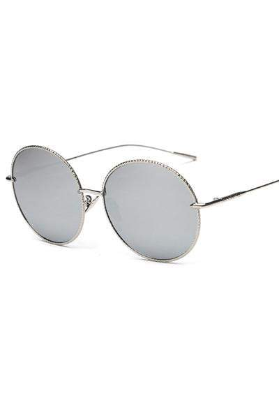 yoyoyoyoga.com Yoga Accessories Silver / One Size Chic Big Round Frame Metal Sunglasses