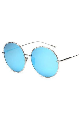 yoyoyoyoga.com Yoga Accessories Sky blue / One Size Chic Big Round Frame Metal Sunglasses