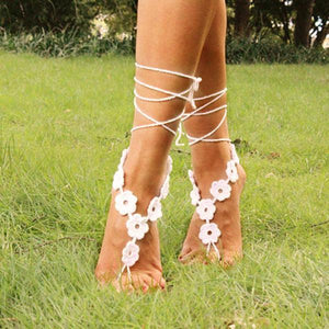 yoyoyoyoga.com Yoga Accessories White / One Size Hand-Crochet Flower Anklet