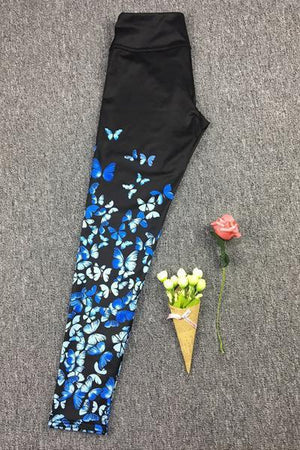 yoyoyoyoga.com Yoga Pants Printing blue / M Multi Color Butterfly Printed Yoga Leggings