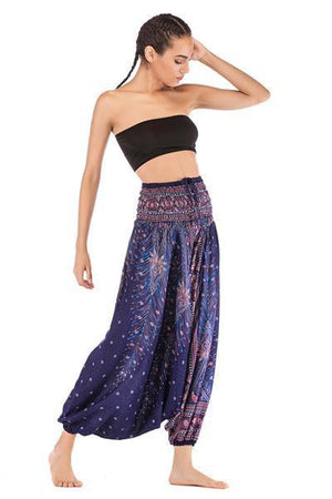 yoyoyoyoga.con Bohemian Pants Blue purple / One Size Bohemian Printed Loose Lantern Yoga Pants