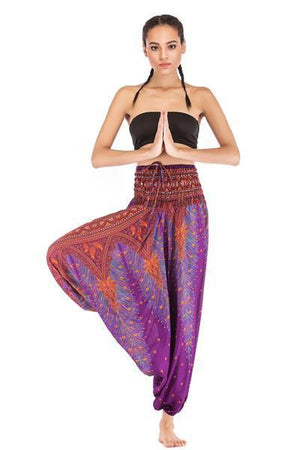 yoyoyoyoga.con Bohemian Pants Purple / One Size Bohemian Printed Loose Lantern Yoga Pants