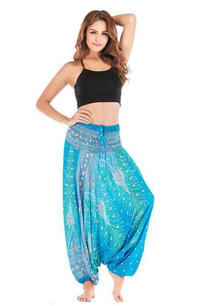yoyoyoyoga.con Bohemian Pants Royal blue / One Size Bohemian Printed Loose Lantern Yoga Pants