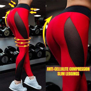 yoyoyoyoga Red / S Super breathable anti-cellulite compression leggings
