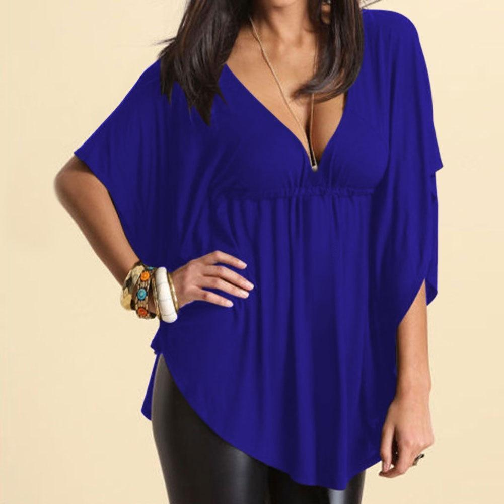 yoyoyoyoga Tops Blue / M Solid color loose V-neck T-shirt