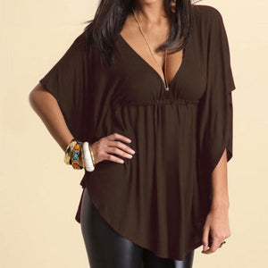 yoyoyoyoga Tops Coffee / M Solid color loose V-neck T-shirt