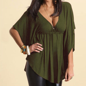 yoyoyoyoga Tops Green / M Solid color loose V-neck T-shirt