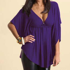 yoyoyoyoga Tops Purple / M Solid color loose V-neck T-shirt
