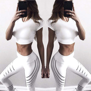 yoyoyoyoga White / S Yoga Pants Reflective Striped Printed Stretch Trousers