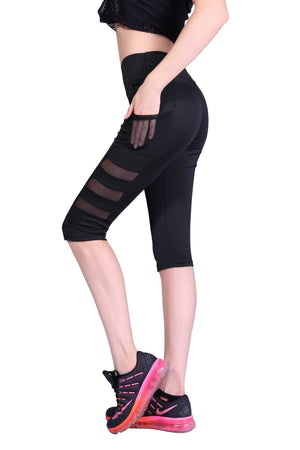 yoyoyoyoga Yoga Pants Black / S / Cropped trousers Quick-drying Mesh Pocket Sports Yoga Leggings