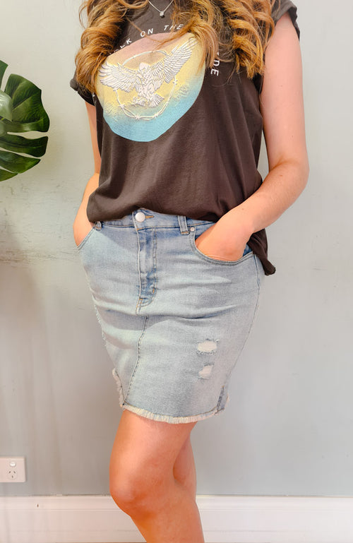 Gem Denim Skirt