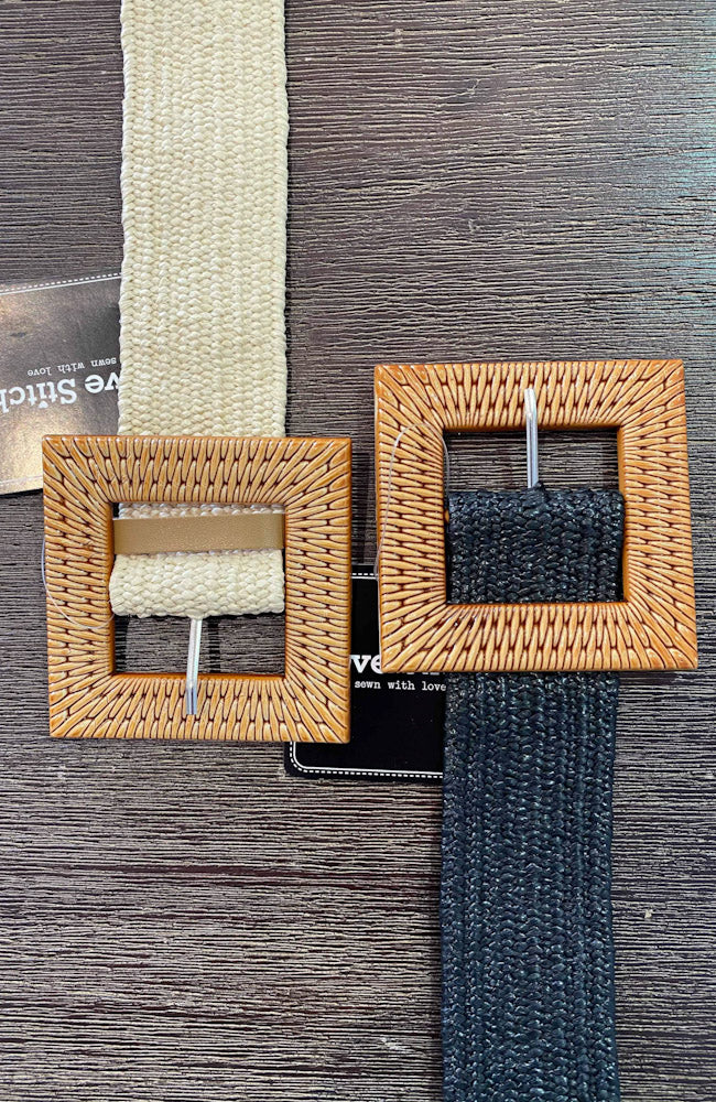 Rattan Buckle Stretch Belts