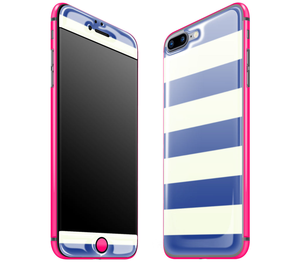 Nautical Striped / Neon Pink <br>iPhone 7/8 PLUS - Glow Gel Combo