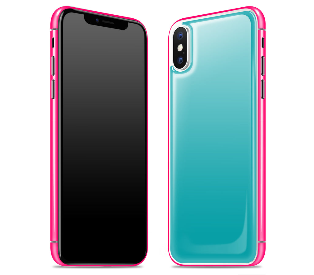 Teal / Neon Pink <br>iPhone X - Glow Gel Combo