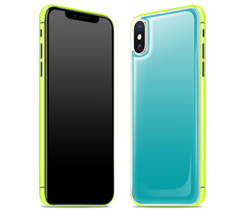 Teal / Neon Yellow <br>iPhone X - Glow Gel Combo
