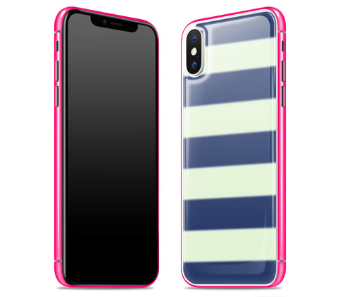 Nautical Striped / Neon Pink <br>iPhone X - Glow Gel Combo