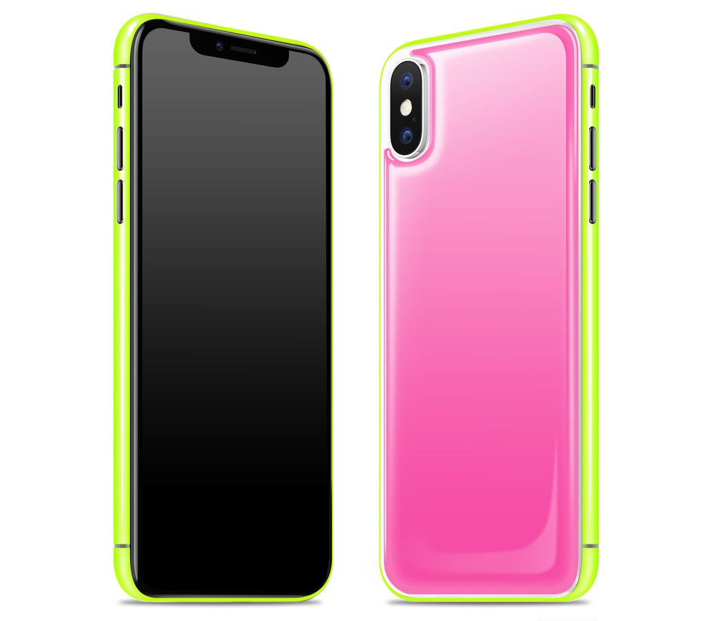 Cotton Candy / Neon Yellow <br>iPhone X - Glow Gel Combo