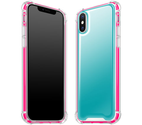 Teal / Neon Pink <br>iPhone X - Glow Gel case combo