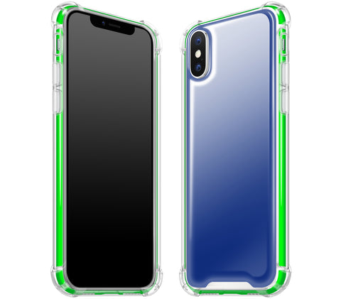 Navy Blue / Neon Green <br>iPhone X - Glow Gel case combo