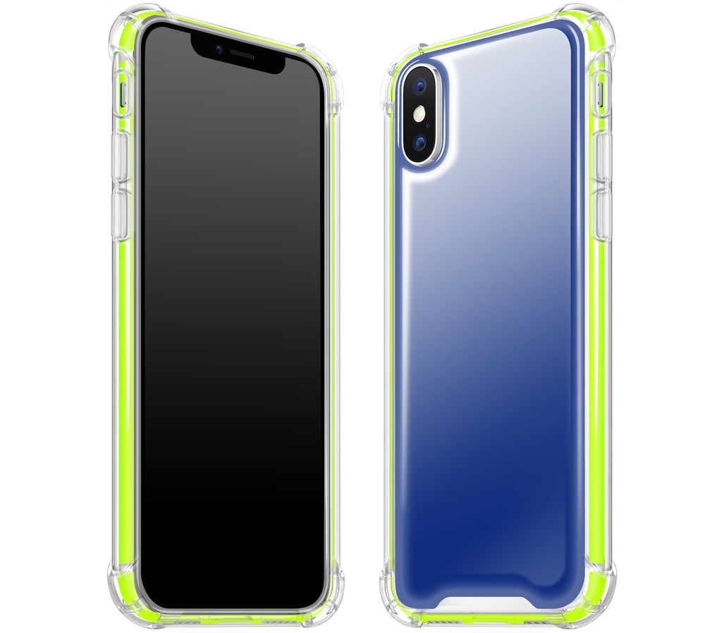 Navy Blue / Neon Yellow <br>iPhone X - Glow Gel case combo