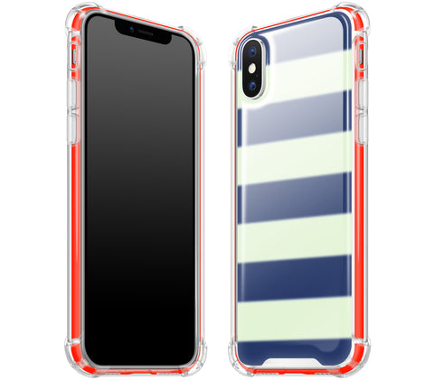 Nautical Striped / Neon Red <br>iPhone X - Glow Gel case combo