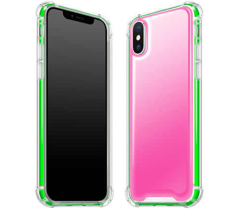 Cotton Candy / Neon Green <br>iPhone X - Glow Gel case combo