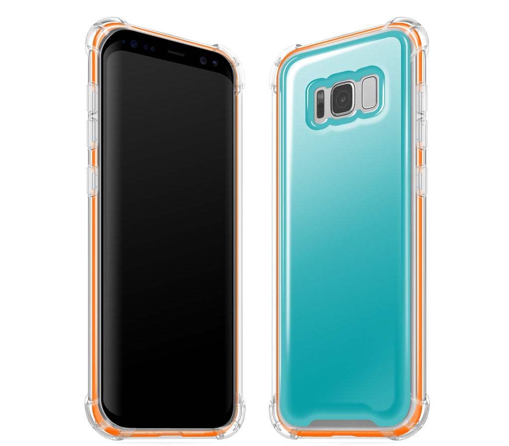 Teal / Neon Orange <br>Samsung S8 - Glow Gel case combo
