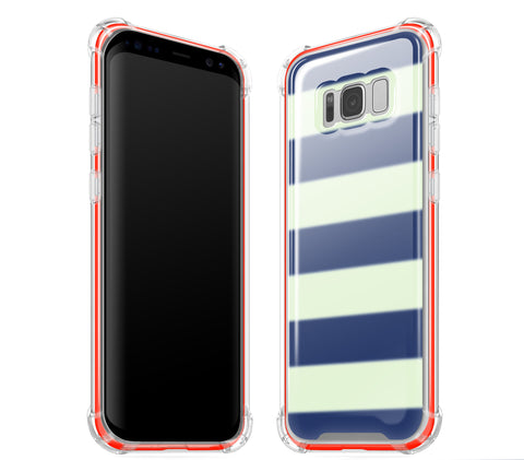 Nautical Striped / Neon Red <br>Samsung S8 - Glow Gel case combo