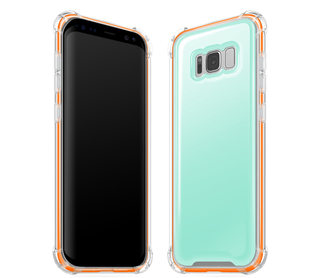 Mint / Neon Orange <br>Samsung S8 - Glow Gel case combo