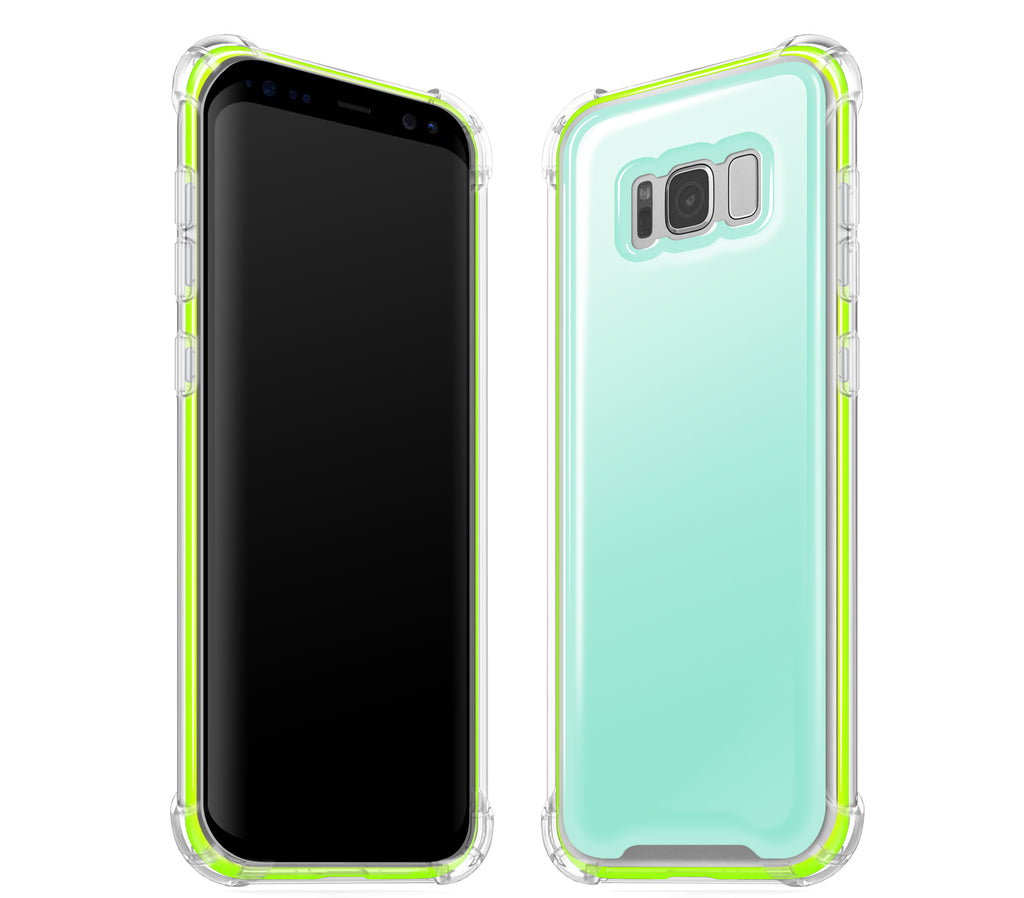 Mint / Neon Yellow <br>Samsung S8 - Glow Gel case combo