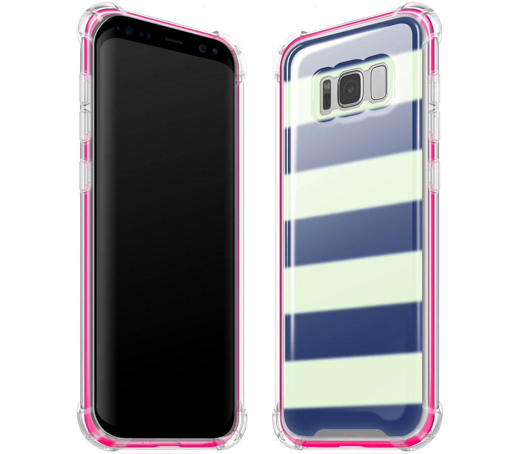 Nautical Striped / Neon Pink <br>Samsung S8 PLUS - Glow Gel case combo