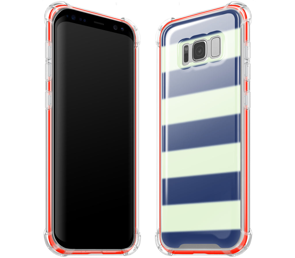 Nautical Striped / Neon Red <br>Samsung S8 PLUS - Glow Gel case combo