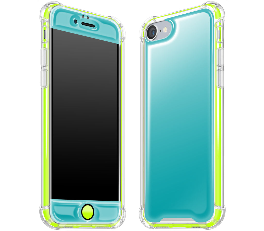 Teal / Neon Yellow <br>iPhone 7/8 - Glow Gel case combo
