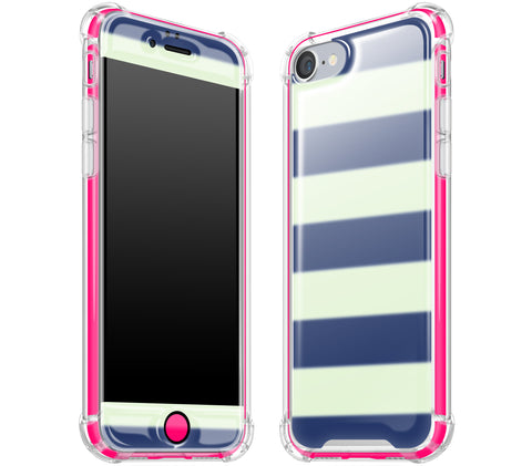 Nautical Striped / Neon Pink <br>iPhone 7/8 - Glow Gel case combo