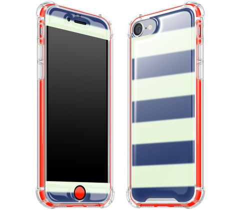 Nautical Striped / Neon Red <br>iPhone 7/8 - Glow Gel case combo