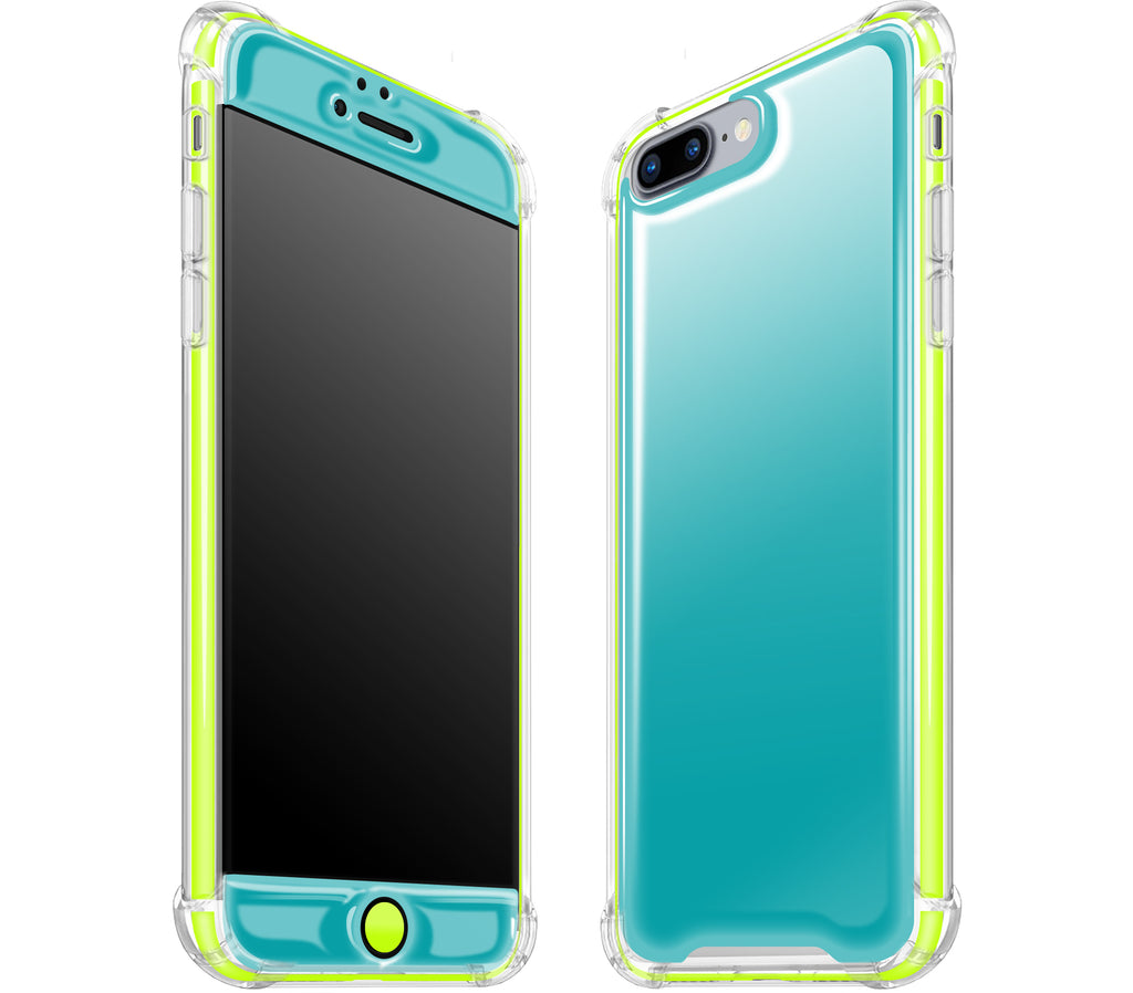 Teal / Neon Yellow <br>iPhone 7/8 PLUS - Glow Gel case combo