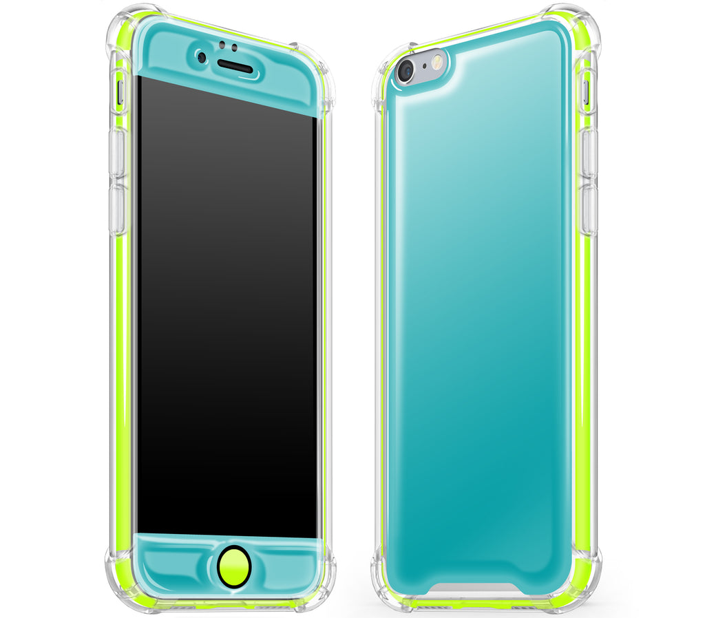 Teal / Neon Yellow <br>iPhone 6/6s - Glow Gel case combo