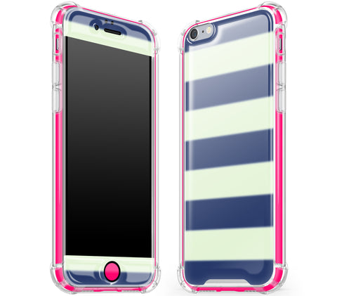 Nautical Striped / Neon Pink <br>iPhone 6/6s - Glow Gel case combo