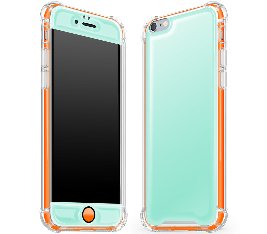 Mint / Neon Orange <br>iPhone 6/6s - Glow Gel case combo