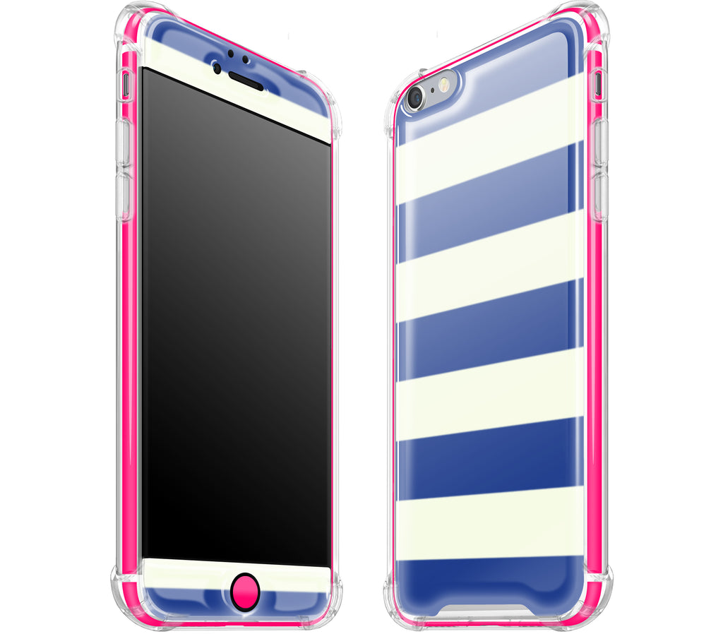 Nautical Striped / Neon Pink <br>iPhone 6/6s PLUS - Glow Gel case combo