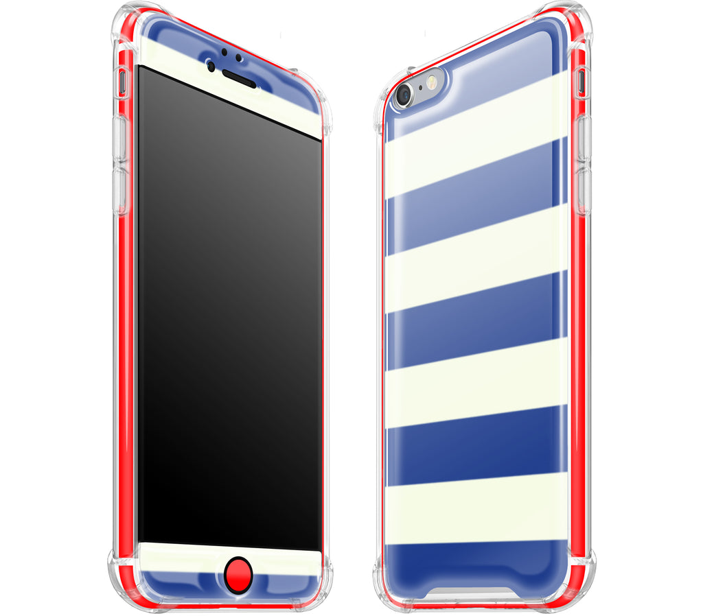 Nautical Striped / Neon Red <br>iPhone 6/6s PLUS - Glow Gel case combo