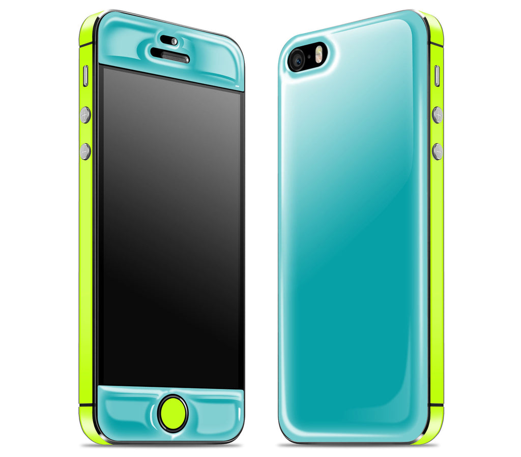 Teal / Neon Yellow <br>iPhone SE - Glow Gel Combo