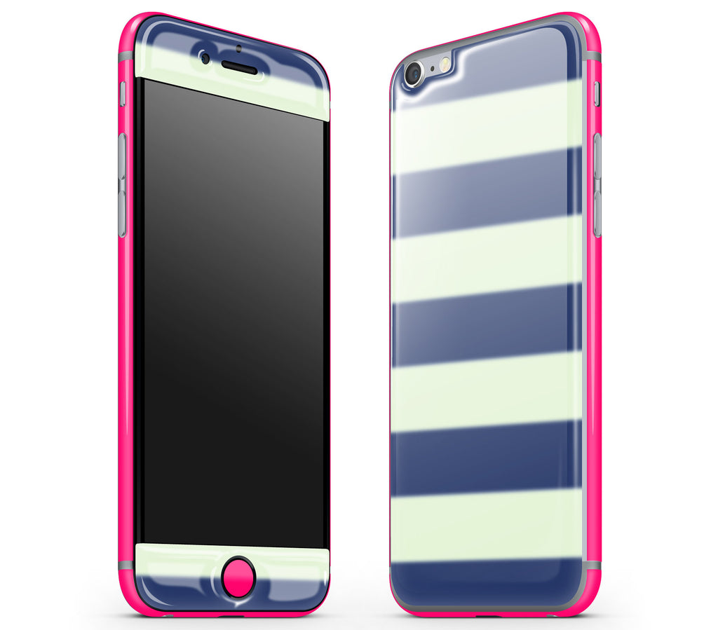 Nautical Striped / Neon Pink <br>iPhone 6/6s - Glow Gel Combo